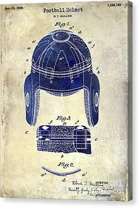 1929 Football Helmet Patent Drawing 2 Tone Canvas Print by Jon Neidert