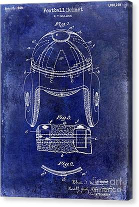 1929 Football Helmet Patent Drawing Blue Canvas Print