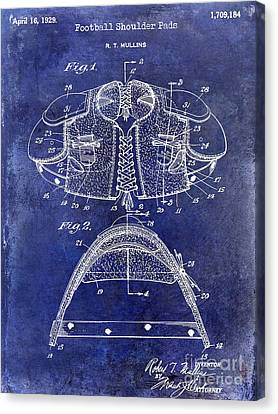1929 Football Shoulder Pads Patent Drawing Blue Canvas Print