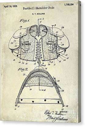 1929 Football Shoulder Pads Patent Drawing Canvas Print by Jon Neidert