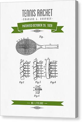 1929 Tennis Racket Patent Drawing - Retro Green Canvas Print by Aged Pixel