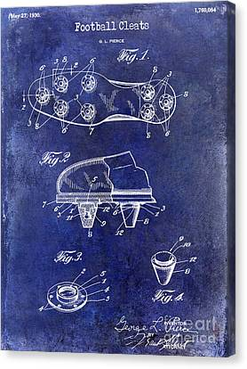 1930 Football Cleats Patent Drawing Blue Canvas Print by Jon Neidert
