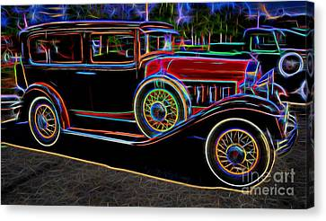 1930 Willys-knight 66 B Sedan - Neon Canvas Print by Gary Whitton