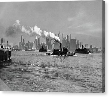 Staten Island Ferry Canvas Print - 1930s 1933 Steam Engine Tug Boat by Vintage Images