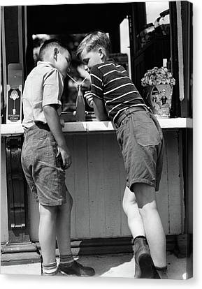 Bonding Canvas Print - 1930s 1940s Boys Sharing A Soda by Vintage Images