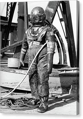 Diving Helmet Canvas Print - 1930s 1940s Full Figure Of Man by Vintage Images