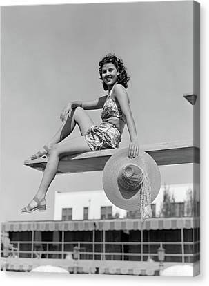 Diving Board Canvas Print - 1930s 1940s Smiling Woman Wearing Two by Vintage Images