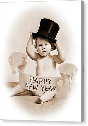 Happy New Year Canvas Print - 1930s Baby Wearing Top Hat Surrounded by Vintage Images