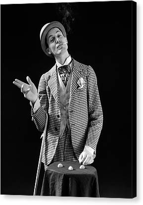 Barker Canvas Print - 1930s Barker In Checkered Suit & by Vintage Images