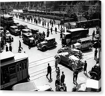 Bryant Park And Public Library Canvas Print - 1930s Busy Intersection Fifth Avenue by Vintage Images