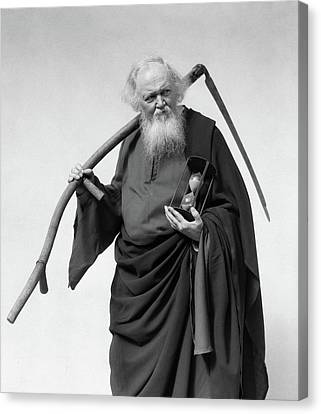 Father Time Canvas Print - 1930s Elderly White-bearded Man In Long by Vintage Images