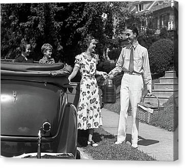 Anticipation Canvas Print - 1930s Family Of Four Getting by Vintage Images