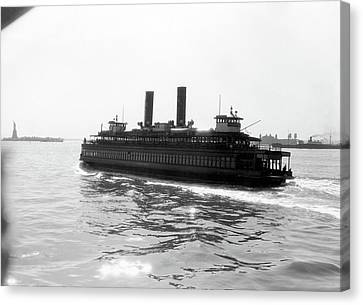Staten Island Ferry Canvas Print - 1930s Ferry Boat With Two Smoke Stacks by Vintage Images