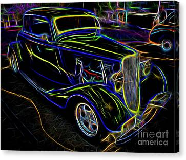 1930s Ford Coupe Neon Abstract Canvas Print by Gary Whitton