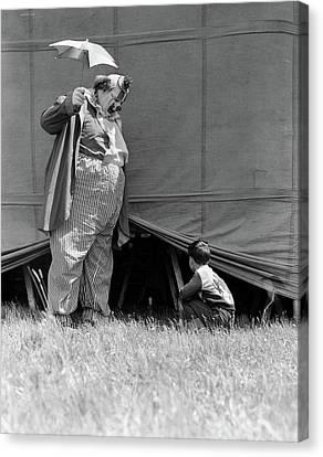 Black Top Canvas Print - 1930s Man Clown Catching Little Boy by Vintage Images