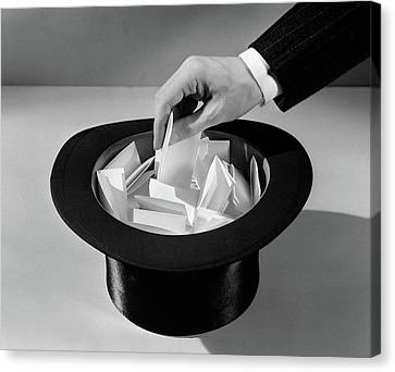 Selecting Canvas Print - 1930s Mans Hand In Top Hat Full by Vintage Images