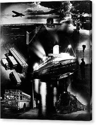 Passenger Plane Canvas Print - 1930s Montage Of Transportation Images by Vintage Images