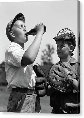 Bonding Canvas Print - 1930s Pair Of Boys Wearing Baseball by Vintage Images