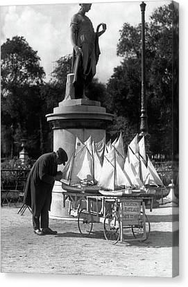Garden Grown Canvas Print - 1930s Paris France Tuileries Gardens by Vintage Images