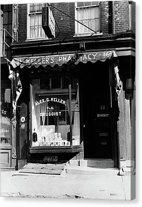 Drugstore Canvas Print - 1930s Pharmacy Storefront by Vintage Images