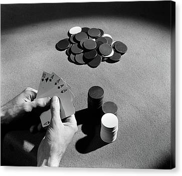 Confidence Men Canvas Print - 1930s Playing Cards Poker Chips by Vintage Images