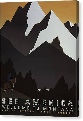 Canvas Print featuring the painting 1930's See America by American Classic Art