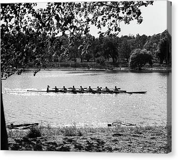 Confidence Men Canvas Print - 1930s Silhouette Sculling Boat Race by Vintage Images