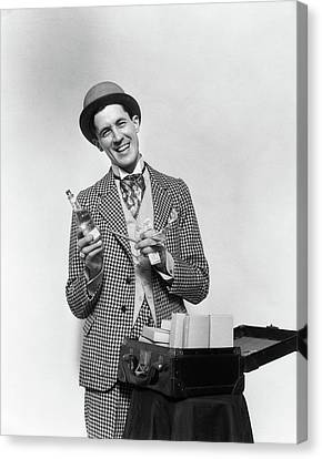 Barker Canvas Print - 1930s Smiling Barker In Checkered Suit by Vintage Images