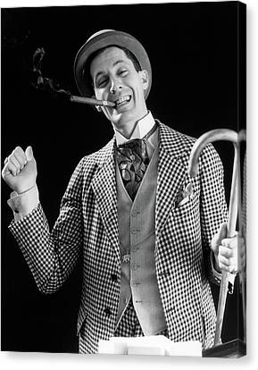 Confidence Men Canvas Print - 1930s Smiling Man Carnival Barker Con by Vintage Images