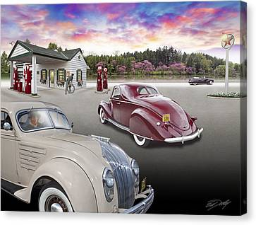 Canvas Print featuring the photograph 1930s - 40s Texaco Station by Ed Dooley