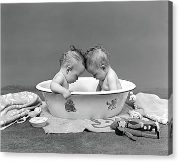 Wash Tubs Canvas Print - 1930s Two Twin Babies In Bath Tub by Vintage Images