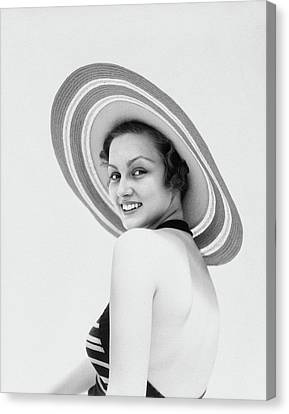 Black Top Canvas Print - 1930s Woman Wearing Striped Halter Top by Vintage Images