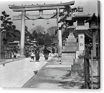 Torii Canvas Print - 1930s Women Children Walking by Vintage Images