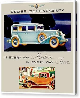 1931 - Dodge Sedan And Coupe Automobile Advertisement - Color Canvas Print