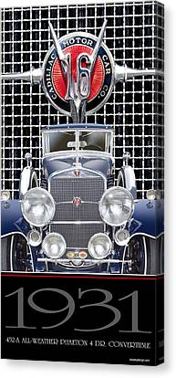 Canvas Print featuring the photograph 1931 Cadillac V-16 Phaeton by Ed Dooley