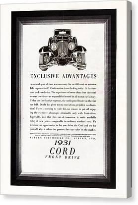 Old Car Canvas Print - 1931 Cord Cabriolet L 29 Vintage Ad by Jack Pumphrey