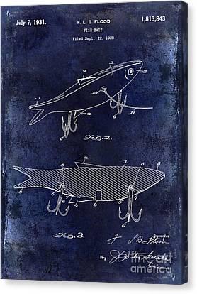 Trout Canvas Print - 1931 Fish Bait Patent Drawing  Blue by Jon Neidert