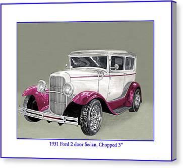 Custom Ford Canvas Print - 1931 Ford 2 Door Sedan Street-rod by Jack Pumphrey