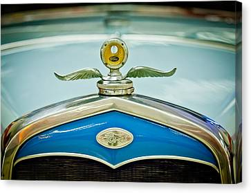 Motometer Canvas Print - 1931 Ford Emble - Moto Meter Hood Ornament by Jill Reger