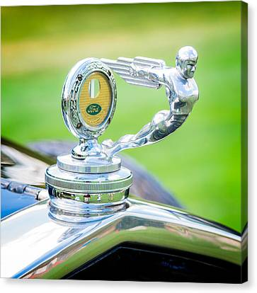 Hood Ornament Canvas Print - 1931 Ford Model A Deluxe Fordor Hood Ornament by Sebastian Musial