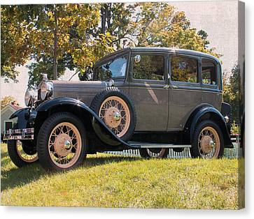 1931 Ford Sedan On Hill At Greenfield Village In Dearborn Michigan Canvas Print by Design Turnpike