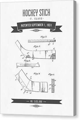 1931 Hockey Stick Patent Drawing - Retro Gray Canvas Print by Aged Pixel