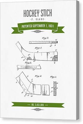 1931 Hockey Stick Patent Drawing - Retro Green Canvas Print by Aged Pixel