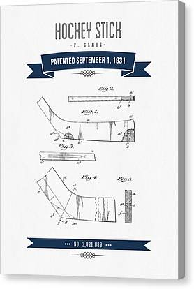 1931 Hockey Stick Patent Drawing - Retro Navy Blue Canvas Print by Aged Pixel