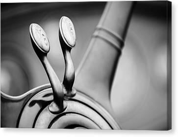 1931 Lincoln K Steering Wheel - Spark - Gas Controls -1865bw Canvas Print by Jill Reger