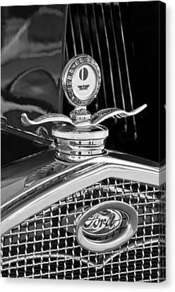 1931 Model A Ford Deluxe Roadster Hood Ornament 2 Canvas Print by Jill Reger