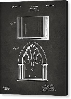 1931 Philco Radio Cabinet Patent Artwork - Gray Canvas Print by Nikki Marie Smith