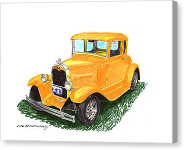 1931 Yellow Ford Coupe Canvas Print by Jack Pumphrey