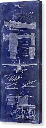 Vintage Airplane Canvas Print - 1932 Airplane Patent Drawing Blue1932 Airplane Patent Drawing Blue by Jon Neidert