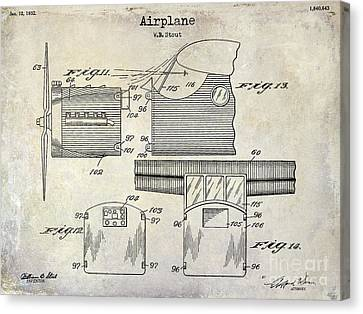 Vintage Airplane Canvas Print - 1932 Airplane Patent Drawing  by Jon Neidert